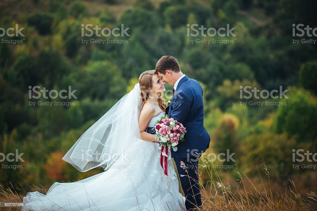 Wedding walk on nature stock photo