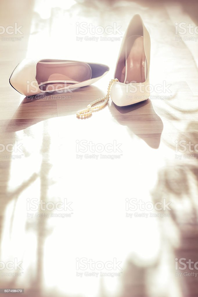 Wedding white shoes stock photo
