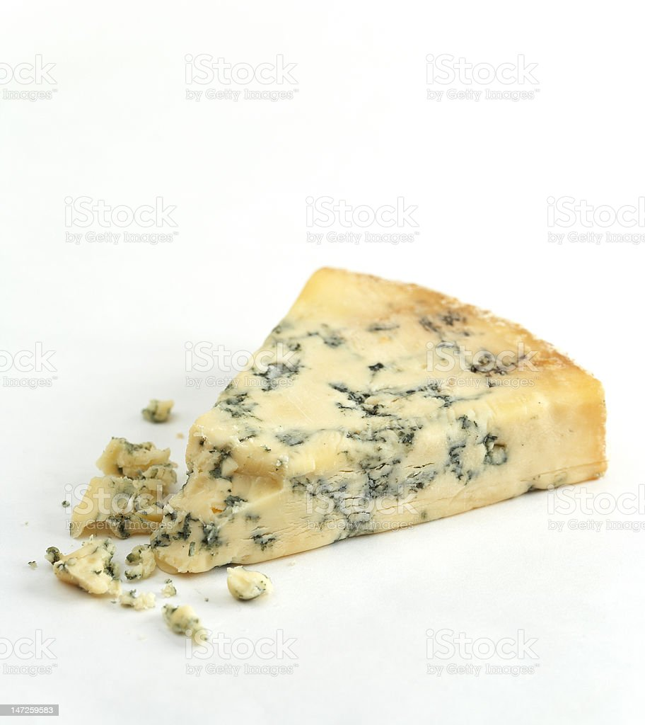 Wedge of artisan blue cheese royalty-free stock photo