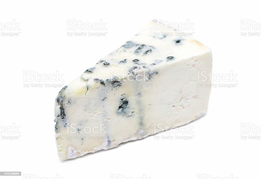 A wedge of Gorgonzola cheese on white background royalty-free stock photo