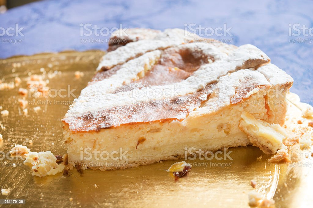 wedge of Pastiera, the traditional Naples cake stock photo