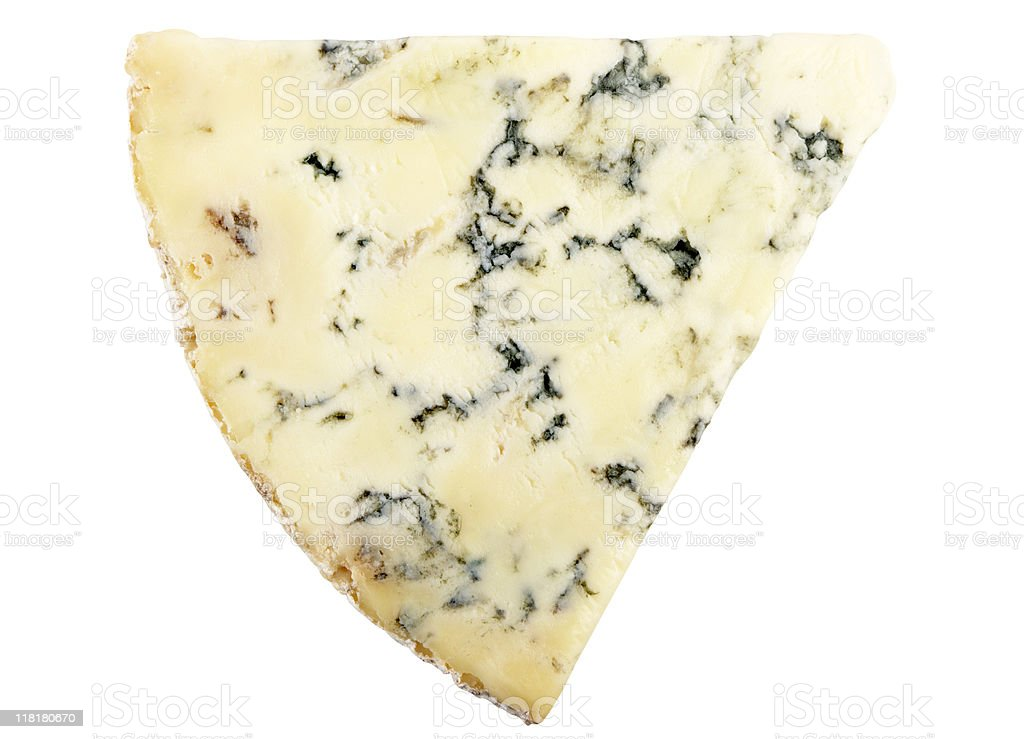 Wedge Of Stilton Cheese Isolated On White stock photo