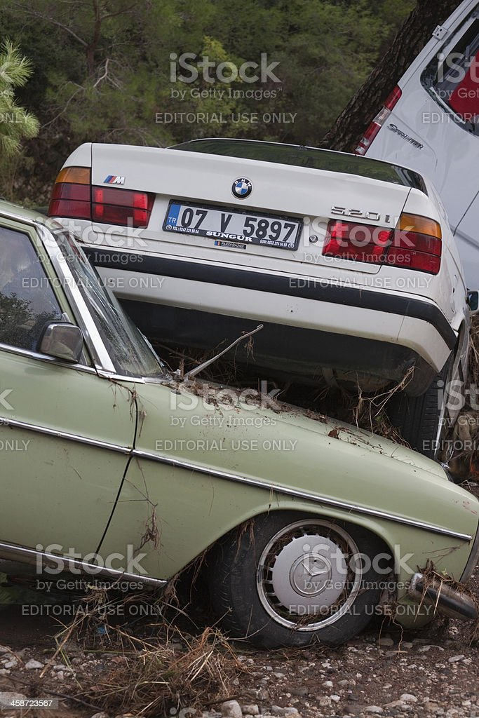 Wedged Cars after Flood Disaster royalty-free stock photo