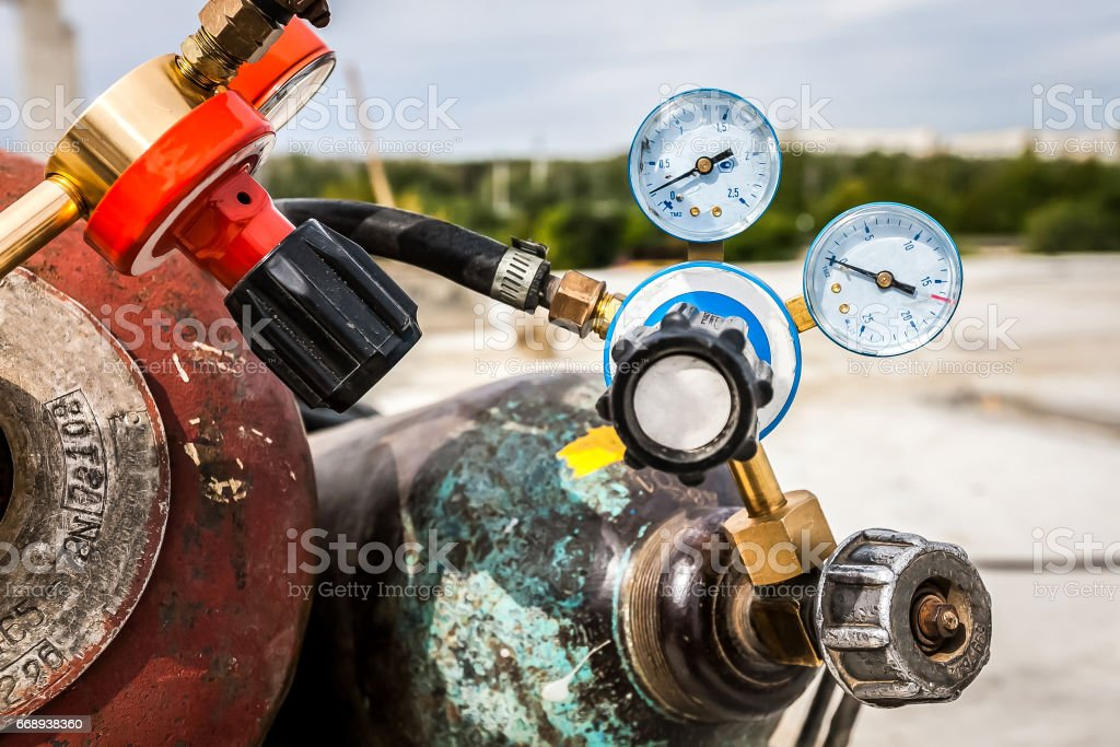 wedling gas and pressure guage valve stock photo