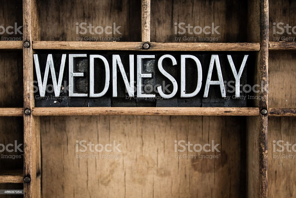 Wednesday Concept Metal Letterpress Word in Drawer stock photo