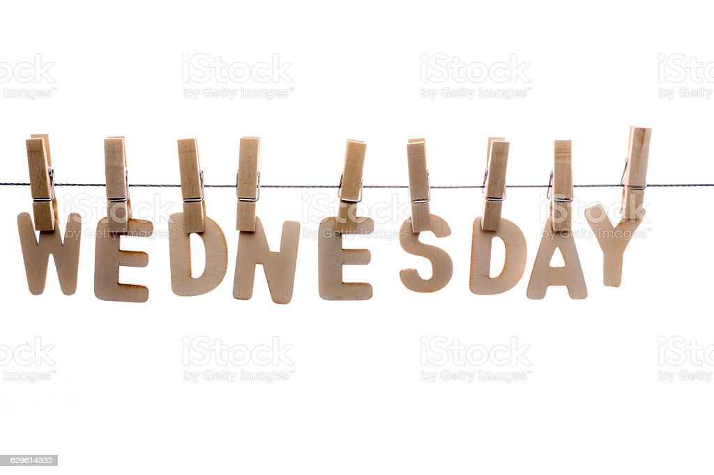 Wednesday in wooden letters on clothesline stock photo
