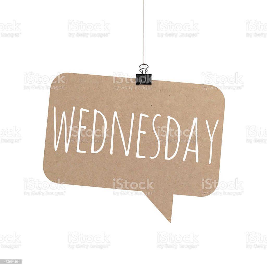 Wednesday speech bubble hanging on a string stock photo