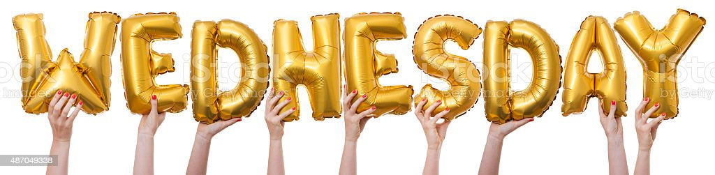Wednesday word made from gold balloons stock photo