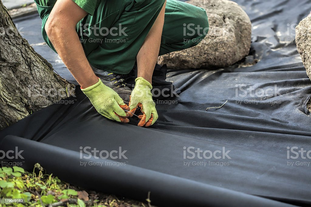 Weed barrier sheet installation stock photo