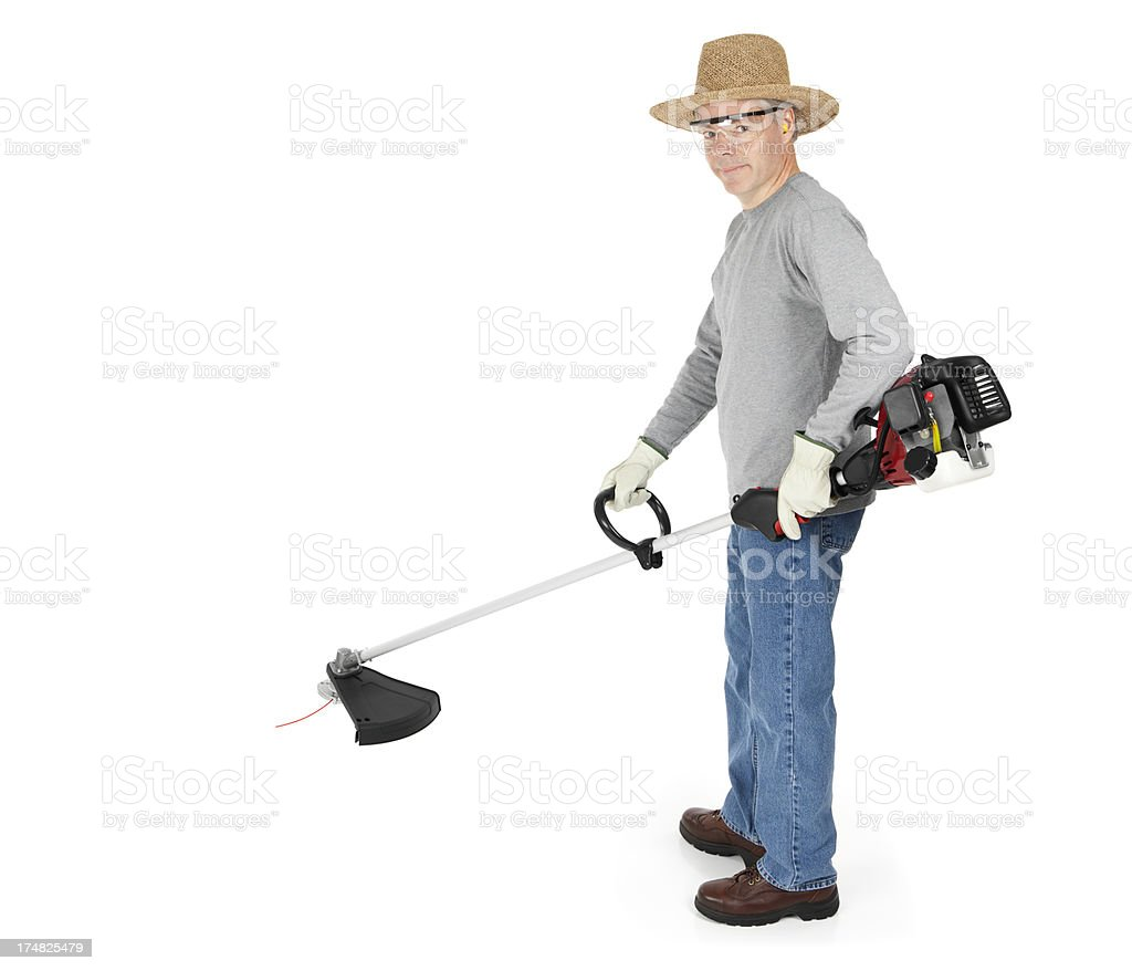 Weed Trimmer Man royalty-free stock photo