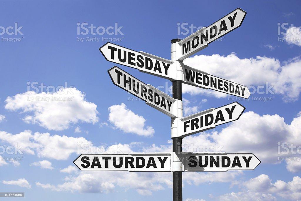 Week days signpost stock photo
