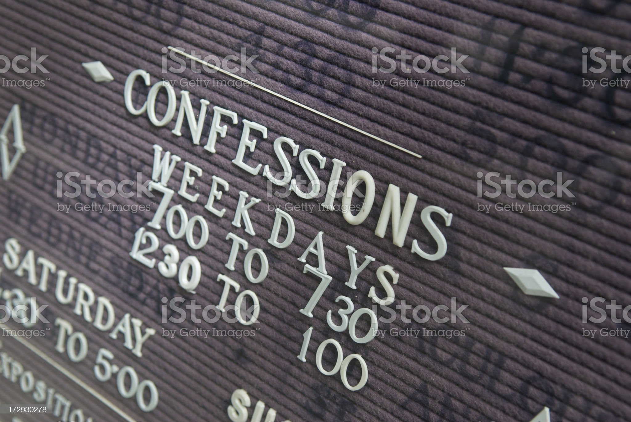 Weekday Confessions Sign On Church royalty-free stock photo