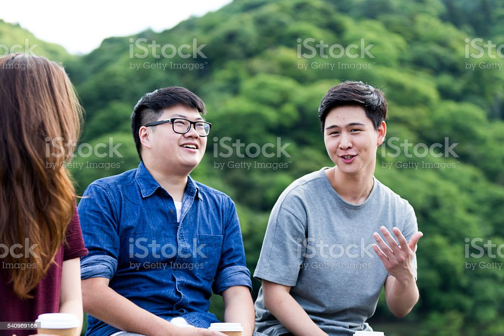 Weekend fun with friends stock photo