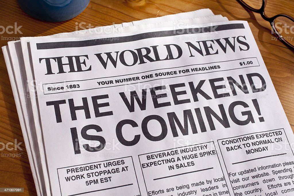 Weekend Headline TGIF stock photo