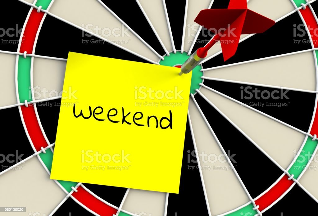 Weekend, message on dart board, 3D rendering stock photo