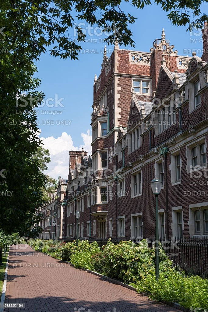 Weekend scene at the University of Pennsylvania campus stock photo