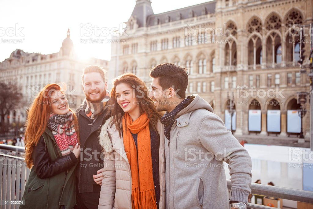 Weekend walk with friends stock photo