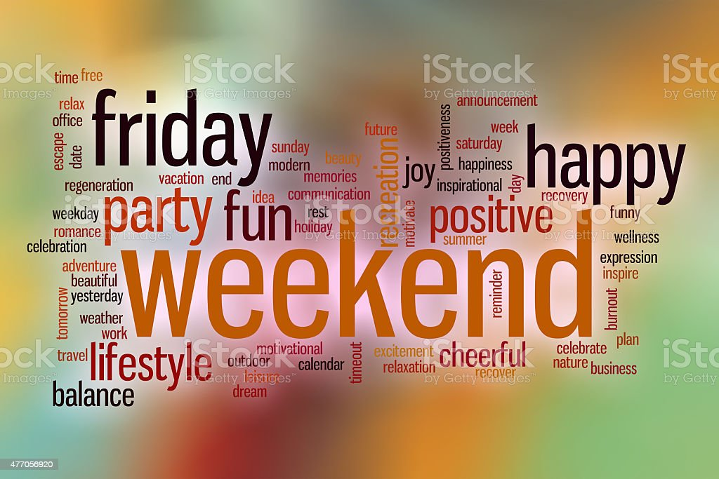 Weekend word cloud with abstract background stock photo