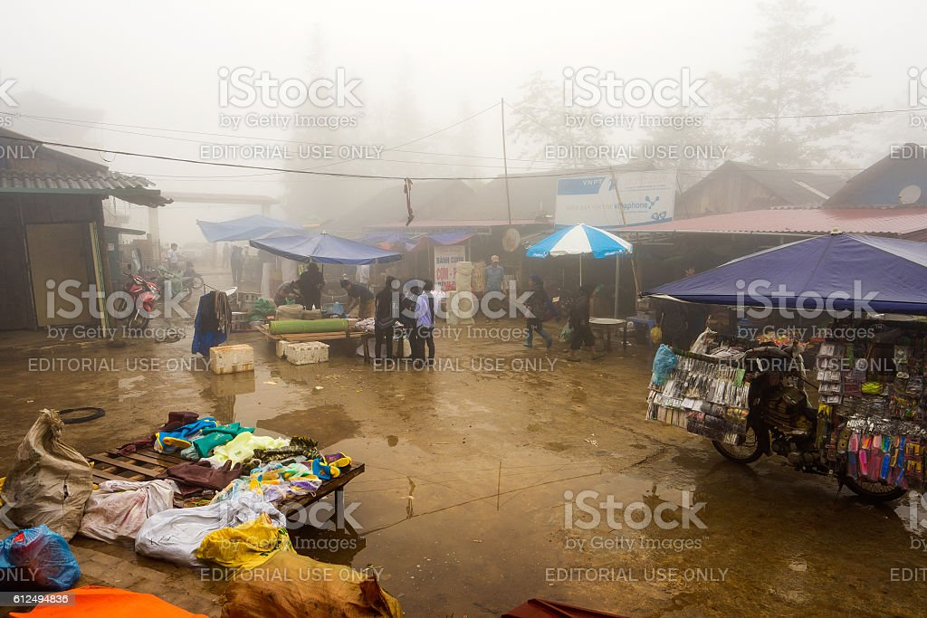 Weekly market on every Sunday by minority Vietnamese people stock photo