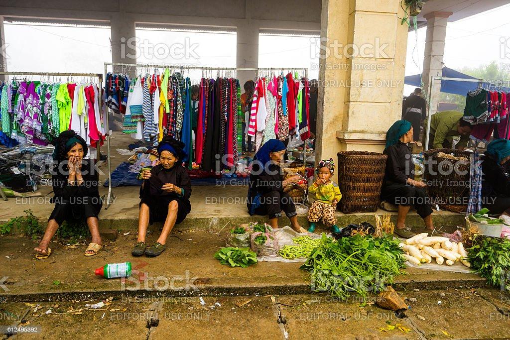 Weekly market on every Sunday by minority Vietnamese people stock photo