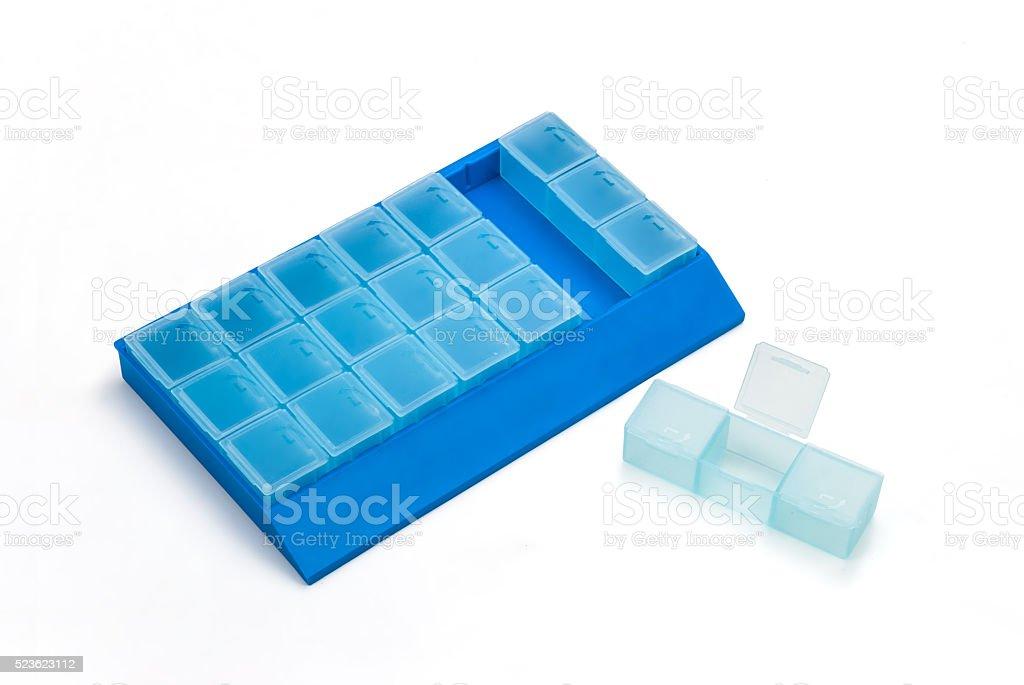 Weekly medicine box stock photo