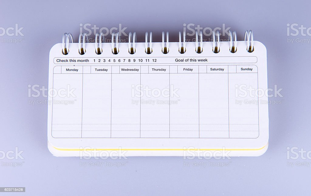 Weekly Planer stock photo