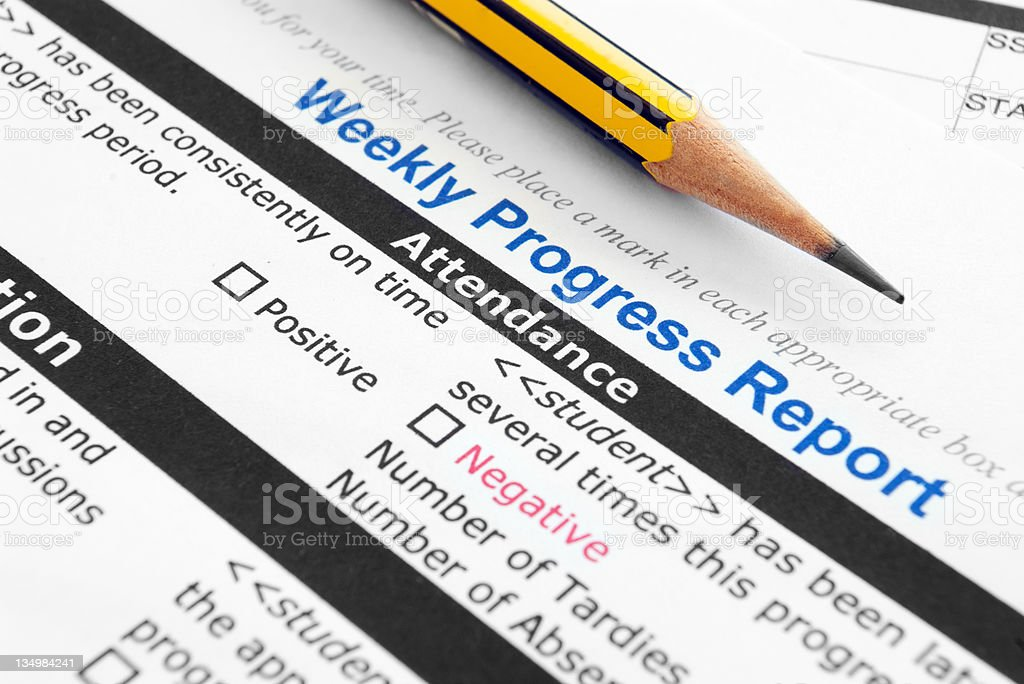 Weekly Progress report royalty-free stock photo