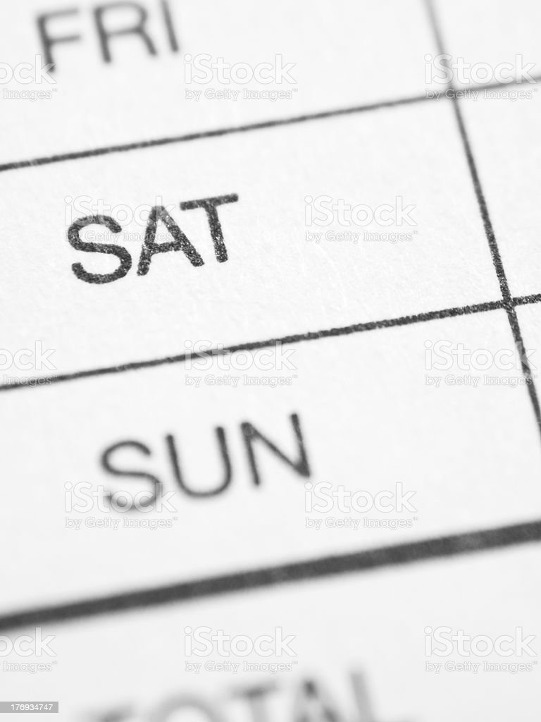 Weekly report form (SATURDAY) stock photo