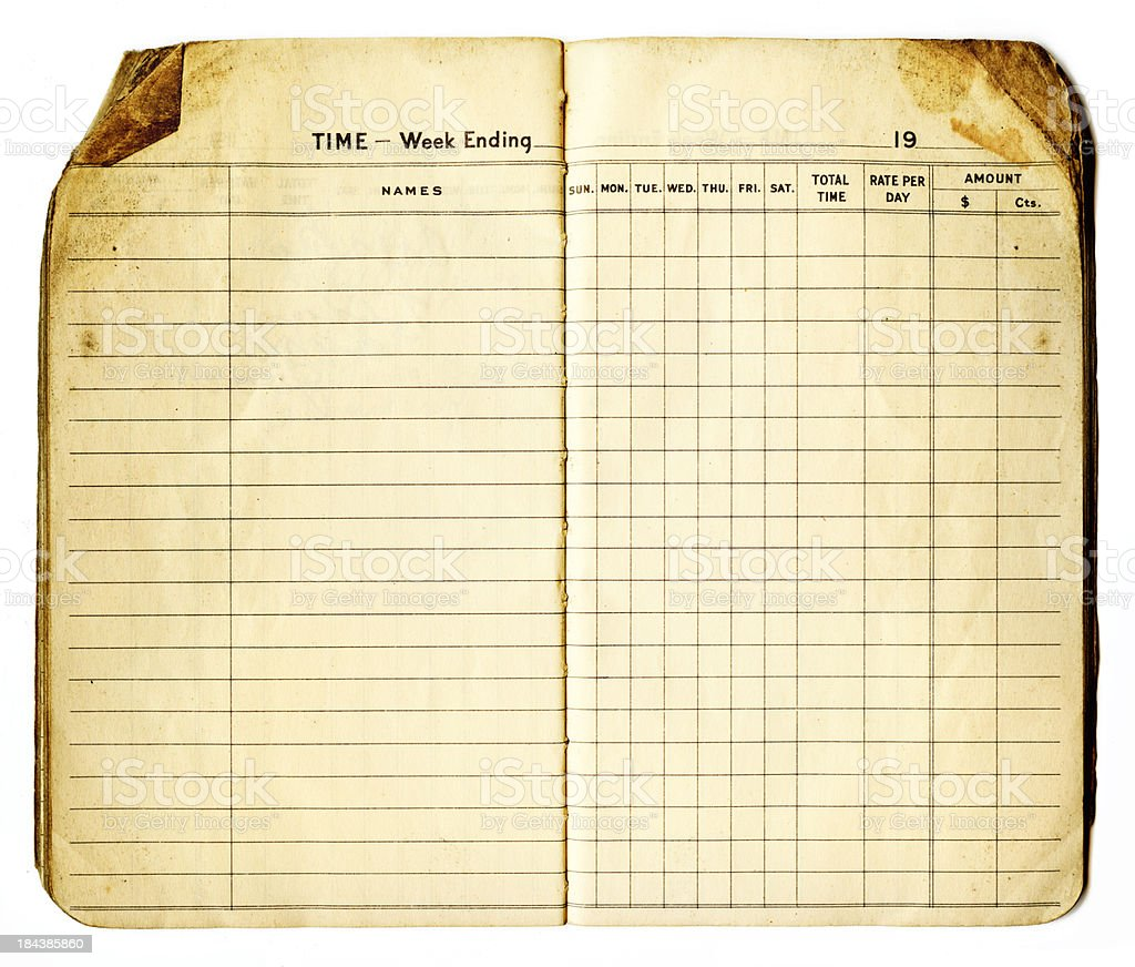 weekly time book spread royalty-free stock photo