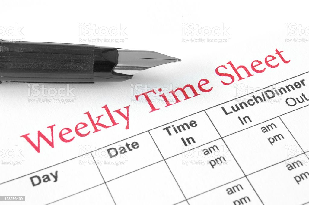 Weekly time sheet title red with pen and chart under stock photo