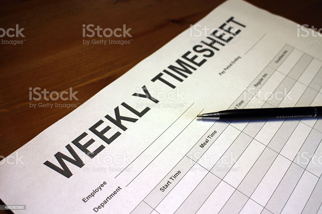 Weekly Timesheet stock photo