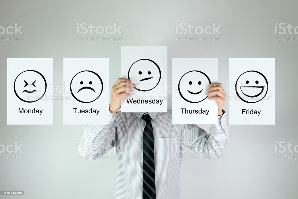 Weekly work emotion stock photo