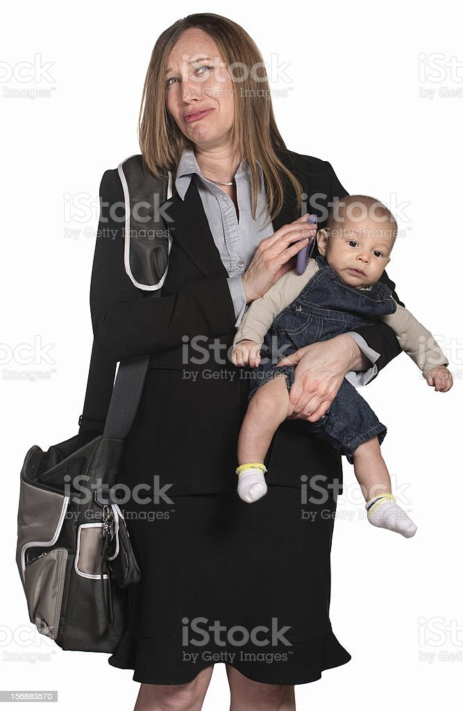 Weeping Businesswoman with Baby royalty-free stock photo