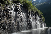 'Weeping Wall' waterfalls on the road in Glacier National Park
