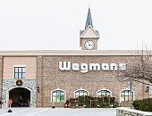 Wegmans grocery store facade and sign with people