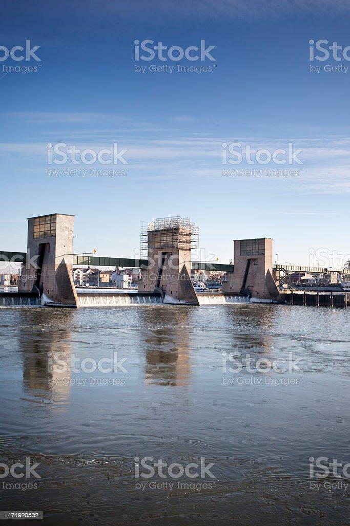 Wehr und Schleuse Kostheim, River Main stock photo
