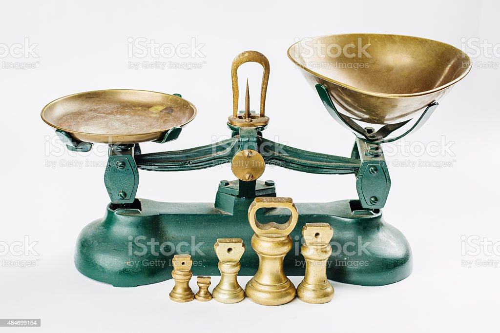 weigh and measure measuring scale with old brass trays isolated stock photo