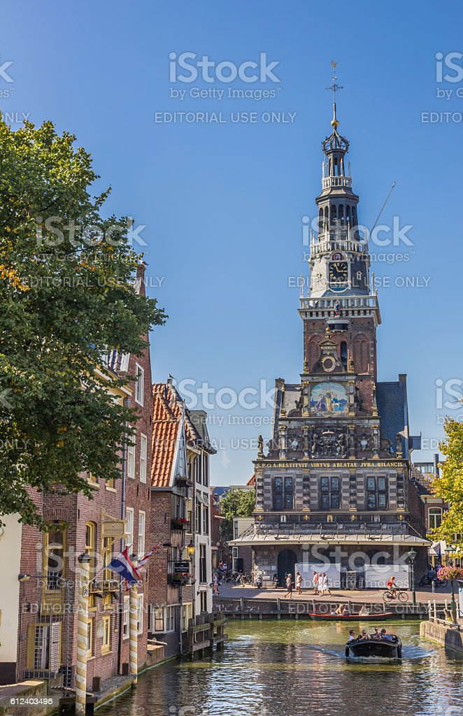 Weigh house at a canal in the center of Alkmaar stock photo