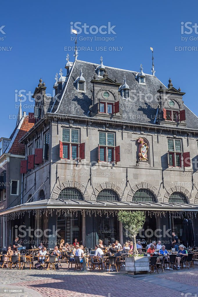 Weigh house at the central market square in Hoorn stock photo