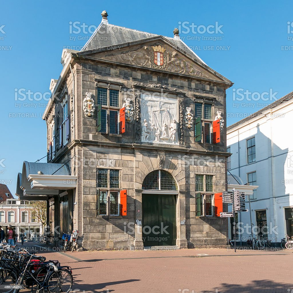 Weigh house museum on Market Square in Gouda, Holland stock photo