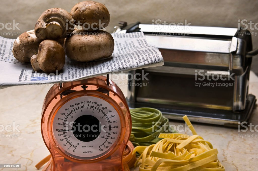 Weigh mushrooms stock photo