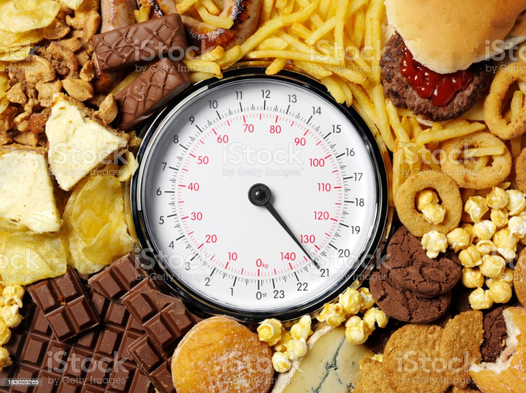 Weighing scale with high-calorie food items stock photo