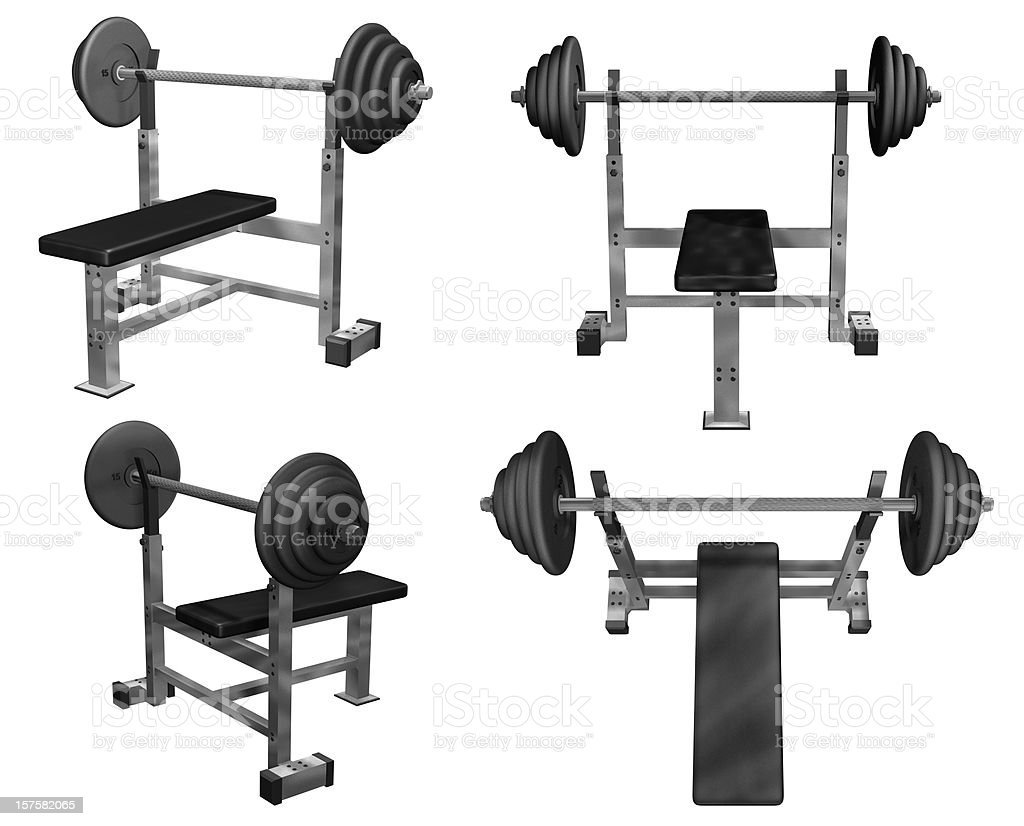 Weight Bench Four Views Isolated (3D) stock photo