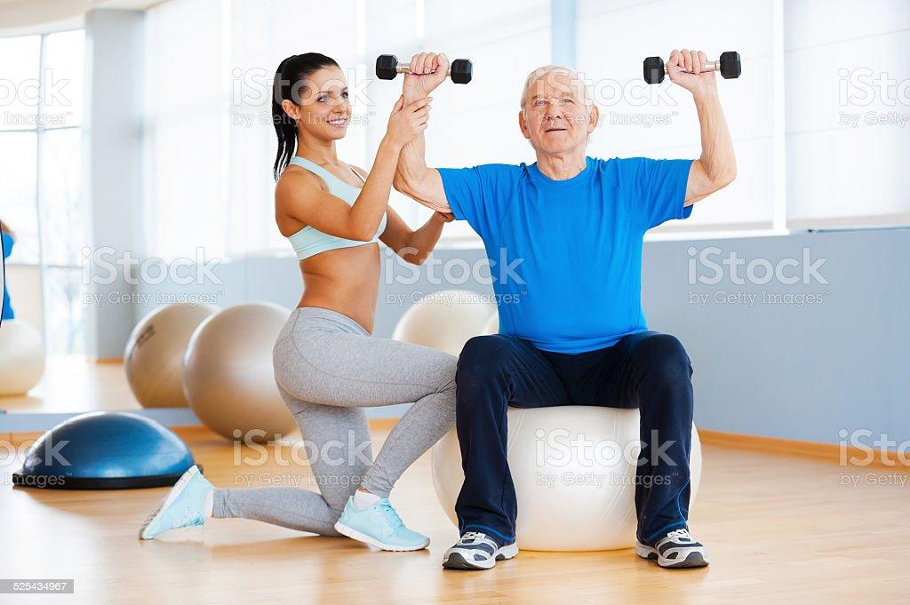 Weight exercises. stock photo