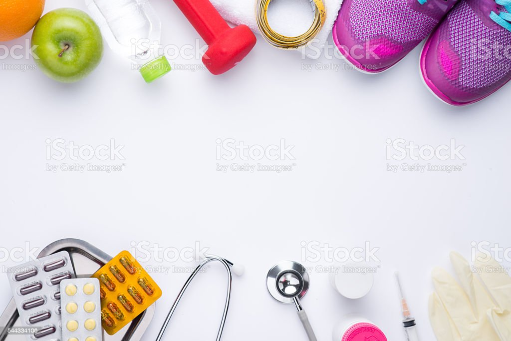 Weight loss and healthy food concept stock photo
