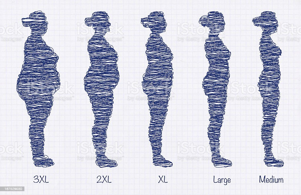 weight loss clothing sizes sketch stock photo