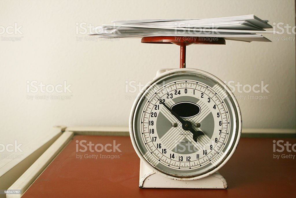 Weight of Bills stock photo