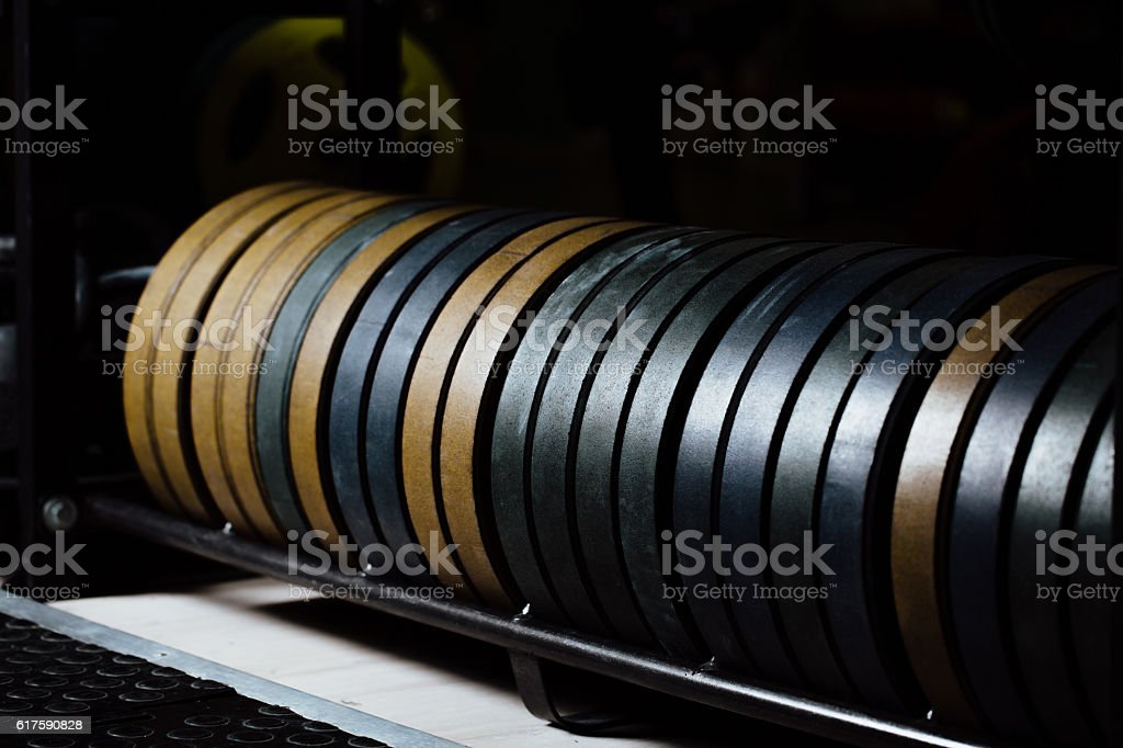 Weight plates rack in the gym. Gym Equipment stock photo
