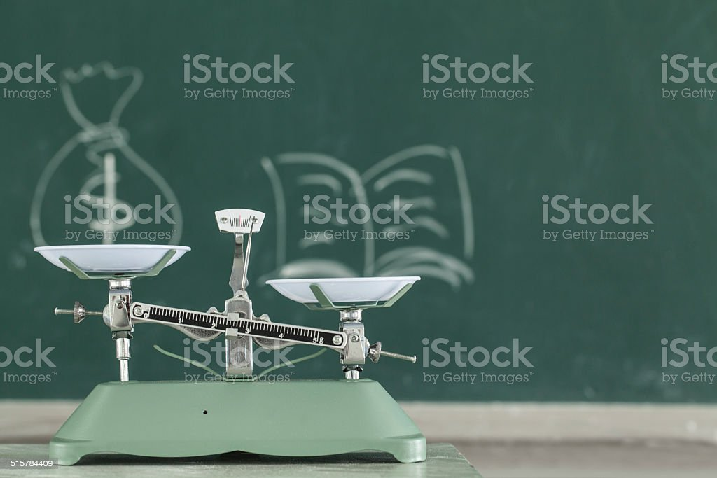 Weight Scale in Front of Chalkboard stock photo