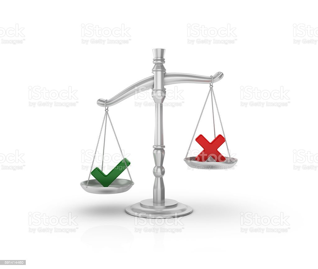 Weight Scale with Check and Cross Symbols stock photo